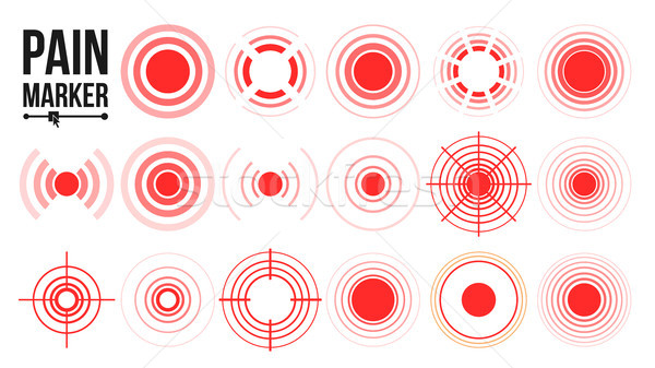 Pain Icon Vector. Red Rings. Pain Circle. Isolated Illustration Stock photo © pikepicture