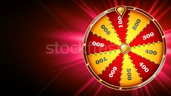 Fortune Wheel Design Vector. Casino Game Of Chance. Luck Sign. Lottery Design Brochure. Glowing Illu Stock photo © pikepicture