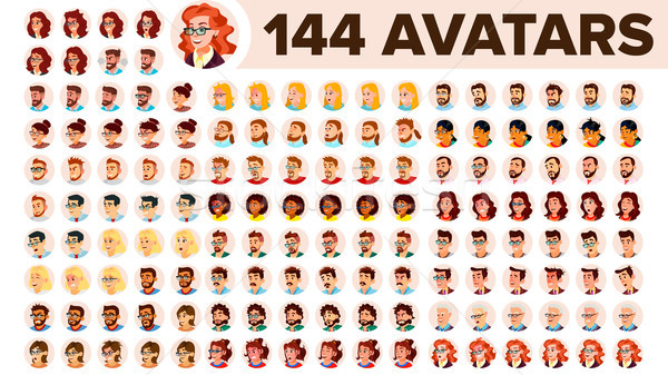 People Avatar Set Vector. Man, Woman. Default Placeholder. Colored Member. User Person. Expressive P Stock photo © pikepicture