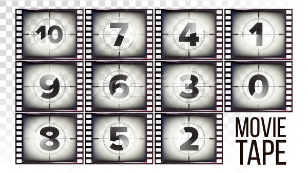 Movie Tape Countdown Vector. Monochrome Brown Grunge Film Strip. From Ten To Zero. Isolated On Trans Stock photo © pikepicture