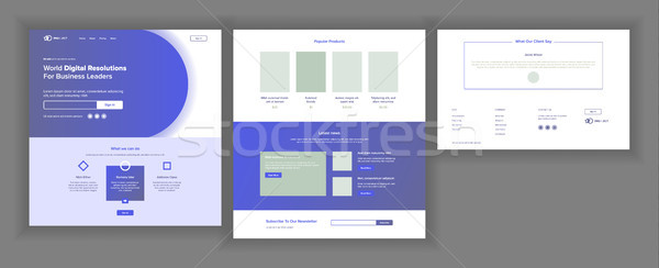 Web Page Design Vector. Website Business Concept. Web Design And Development. Landing Template. Glob Stock photo © pikepicture