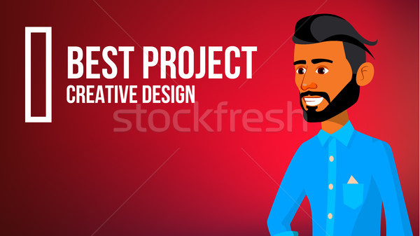 Arab Man Banner Vector. Traditional Robe. Express Emotions. Presenting. For Web, Brochure, Poster De Stock photo © pikepicture