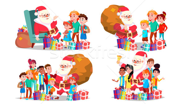 Santa Claus With Children Set Vector. Cheerful Children. December Eve Celebrating. Merry Christmas A Stock photo © pikepicture