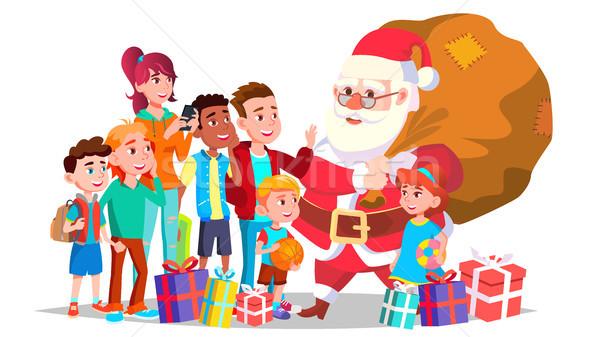 Foto stock: Papai · noel · crianças · vetor · feliz · inverno · férias