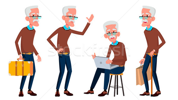 Stock photo: Old Man Poses Set Vector. Elderly People. Senior Person. Aged. Friendly Grandparent. Banner, Flyer,