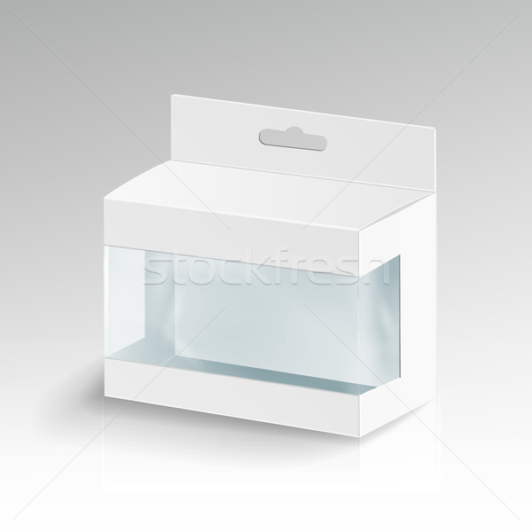 White Blank Cardboard Rectangle Vector. 3d Empty Package Cardboard Box Illustration Stock photo © pikepicture