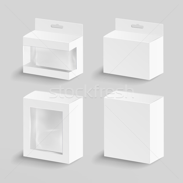 White Blank Cardboard Rectangle Vector. Realistic Mock Up White Package Box. Stock photo © pikepicture