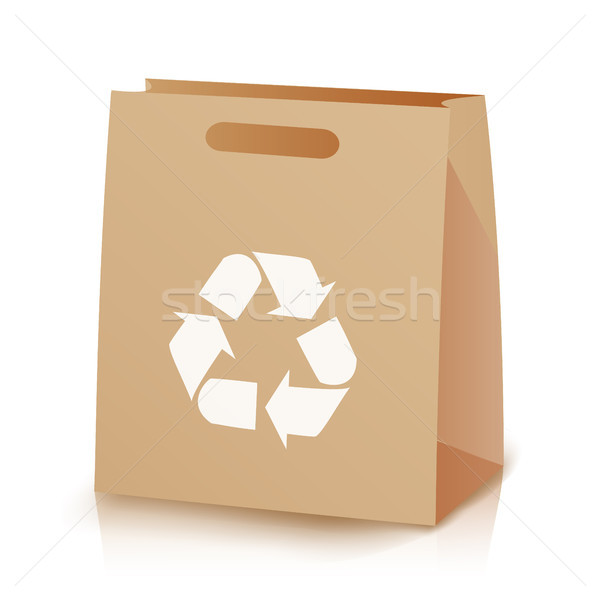 Recycle Shopping Brown Bag. Illustration Of Recycled Brown Shopping Paper Bag With Handles. Recyclin Stock photo © pikepicture