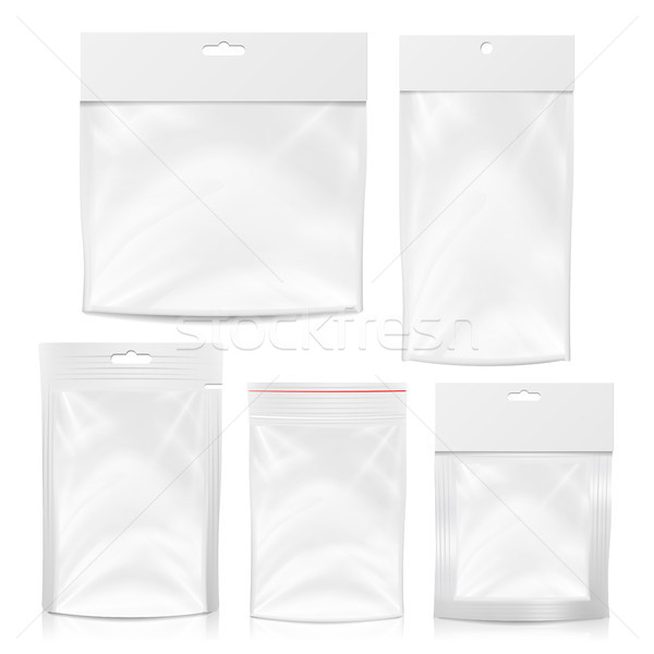 Plastic Polyethylene Pocket Bag Set Vector Blank. Realistic Mock Up Template Of Plastic Pocket Bag W Stock photo © pikepicture