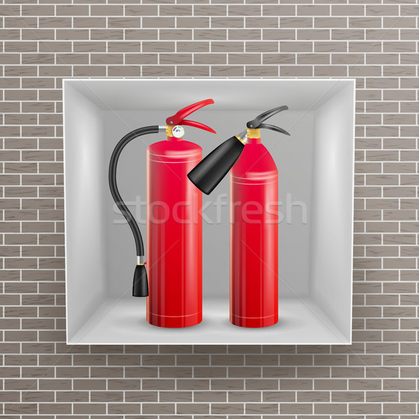Fire Extinguisher In Brick Wall Niche Vector. Metal Glossiness 3D Realistic Red Fire Extinguisher Il Stock photo © pikepicture