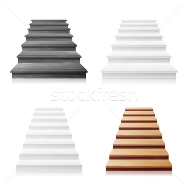 Staircase Vector Set. White, Wooden Dark. 3D Realistic Illustration. Front View Of Clean White Empty Stock photo © pikepicture