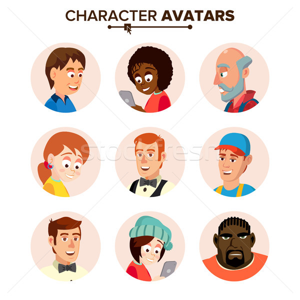 People Characters Avatars Set Vector. Cartoon Flat Isolated Illustration Stock photo © pikepicture