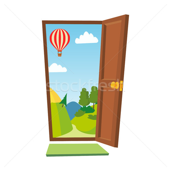 Open Door Vector. Cartoon Landscape. Front View. Flat Isolated Illustration. Stock photo © pikepicture