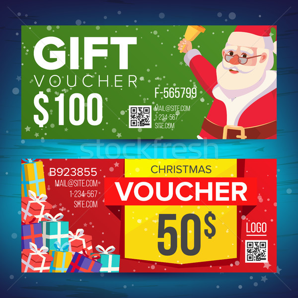Voucher Coupon Template Vector. Horizontal Leaflet Offer. Merry Christmas. Happy New Year. Santa Cla Stock photo © pikepicture