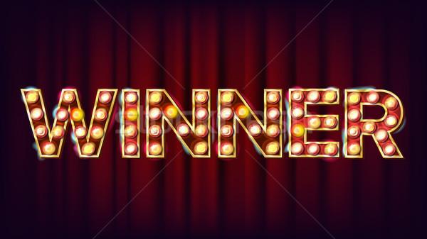Gagnant bannière vecteur casino brillant lampe Photo stock © pikepicture