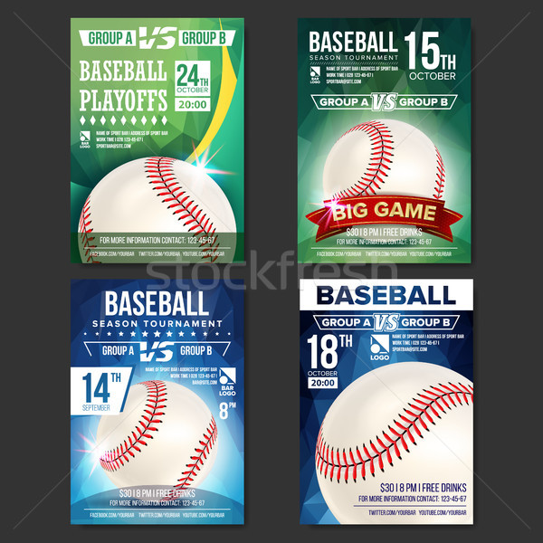 Baseball Poster Set Vector. Design For Sport Bar Promotion. Baseball Ball. Modern Tournament. Sport  Stock photo © pikepicture