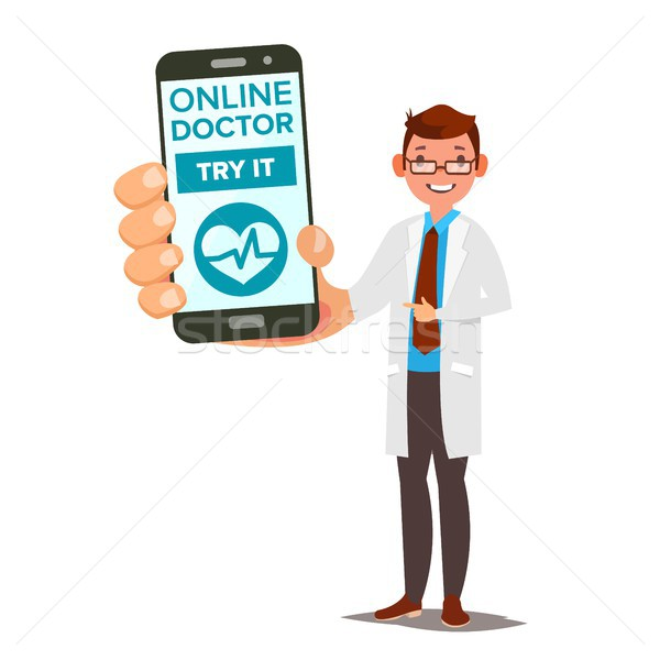 Online Doctor Mobile Service Vector. Man Holding Smartphone With Online Consultation On Screen. Medi Stock photo © pikepicture