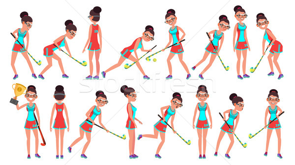 Field Hockey Girl Player Female Vector. Women s Grass Hockey Match. Cartoon Character Illustration Stock photo © pikepicture