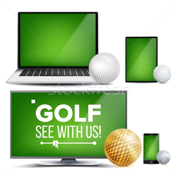 Golf alkalmazás vektor mező golflabda online Stock fotó © pikepicture