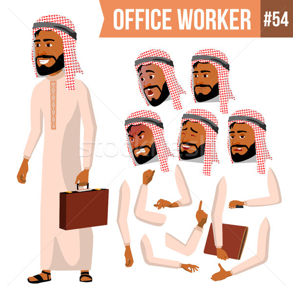 Arab Office Worker Vector. Saudi, Emirates, Qatar, Uae. Face Emotions, Various Gestures. Animation C Stock photo © pikepicture