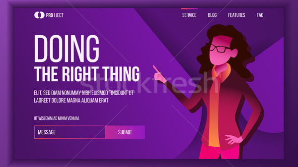 Doing The Right Thing Landing Page Concept Vector. Woman. Creative Idea. Business Coworking. Workflo Stock photo © pikepicture