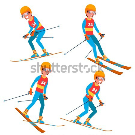 Biathlon Male Player Vector. In Action. Sportsman In Ski Biathlon Competition. Sporting Equipment. C Stock photo © pikepicture