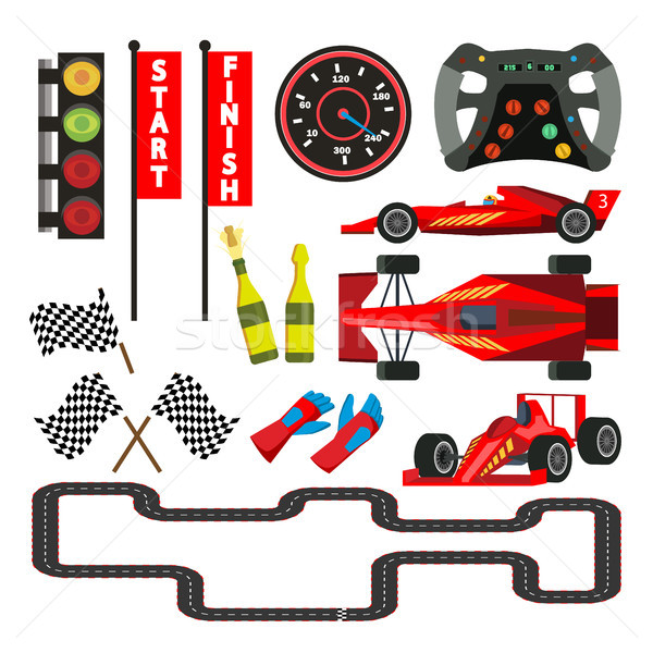 Sport Car Racing Icons Set Vector. Speedometer, Car Steering Wheel, Flag Checkered, Route, Traffic L Stock photo © pikepicture