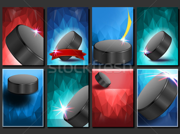 Ice Hockey Poster Set Vector. Empty Template For Design. Promotion. Ice Hockey Puck. Modern Tourname Stock photo © pikepicture