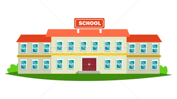 School Building Vector. Modern Education City Construction. Urban Sign. Font Yard. Isolated Flat Car Stock photo © pikepicture