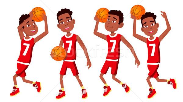 Kosárlabdázó gyermek szett vektor tevékenység atléta Stock fotó © pikepicture