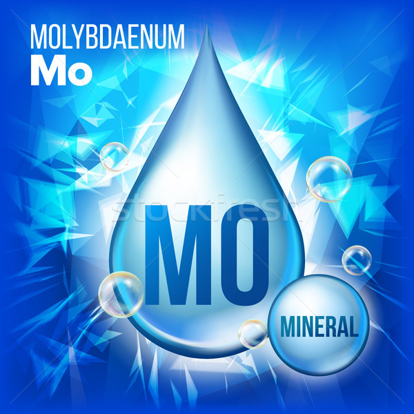Mo Molybdaenum Vector. Mineral Blue Drop Icon. Vitamin Liquid Droplet Icon. Substance For Beauty, Co Stock photo © pikepicture