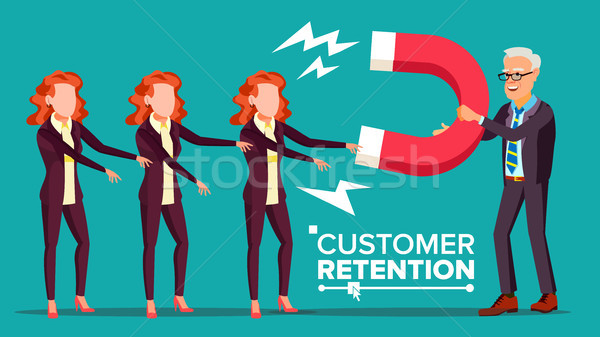 Customer Retention Vector. Businessman With Giant Magnet Attracts Client Woman. Success Strategy, Cu Stock photo © pikepicture