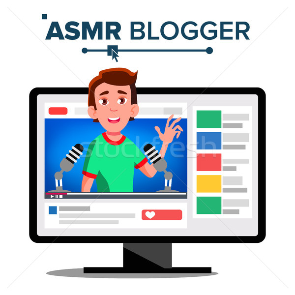 ASMR Blogger Channel Vector. Male, Guy. Isolated Illustration Stock photo © pikepicture