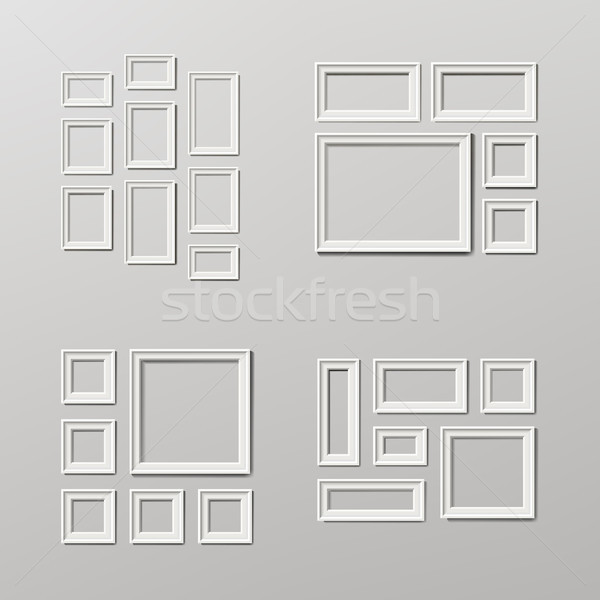 Fotolijstje sjabloon ingesteld vector muur licht Stockfoto © pikepicture