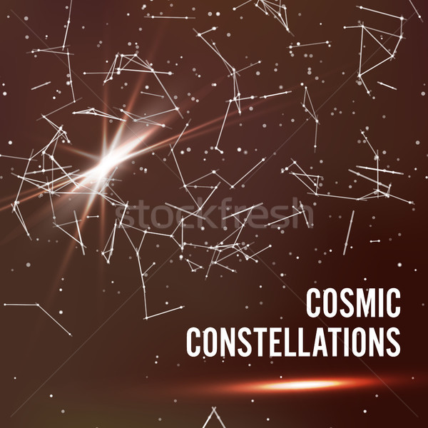 Cosmic Constellations Abstract Background Vector. Deep Space. Illustration Of Cosmic Nebula With Sta Stock photo © pikepicture