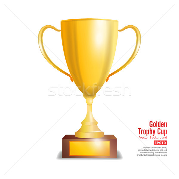 Golden Trophy Cup. Isolated On White Background Vector Illustration Stock photo © pikepicture