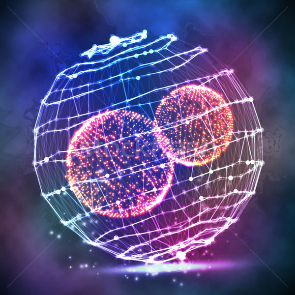 Stock photo: Big Data Sphere. Vector Cyber Sphere Structure Representation. Digital Abstract Background With Glow