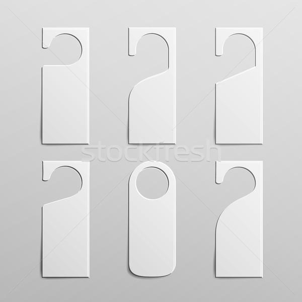 Papieru plastikowe drzwi uchwyt blokady zestaw Zdjęcia stock © pikepicture