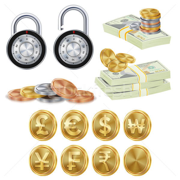 Finance Secure Concept Vector. Gold Metal Coins, Money Banknotes Stacks, Encryption Padlock. Dollar, Stock photo © pikepicture