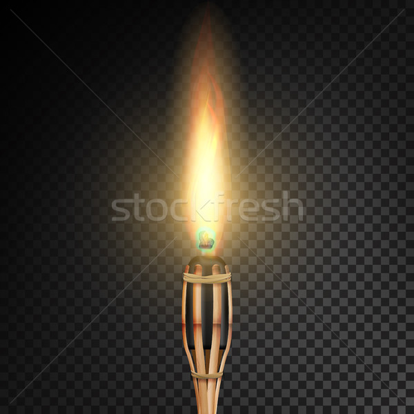 Stock photo: Burning Beach Bamboo Torch With Flame. Realistic Fire. Realistic Fire Torch Isolated On Transparent