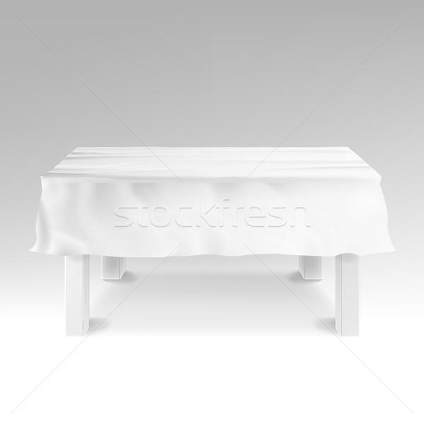 Tischdecke Vektor realistisch leer rechteckige Tabelle Stock foto © pikepicture