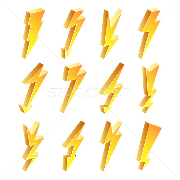 3D Lightning Icons Vector Set. Cartoon Yellow Lightning Isolated Illustration. lightning Symbol. Ele Stock photo © pikepicture
