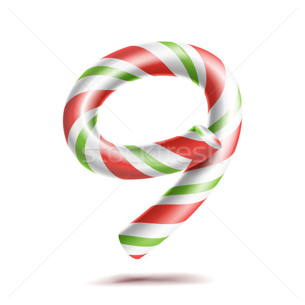 9, Number Nine Vector. 3D Number Sign. Figure 9 In Christmas Colours. Red, White, Green Striped. Cla Stock photo © pikepicture