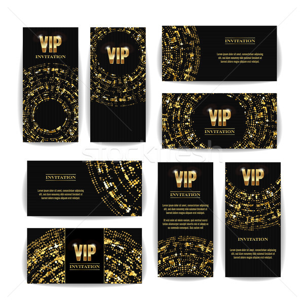 VIP Invitation Card Vector Set. Party Premium Blank Poster Flyer. Black Golden Design Template. Deco Stock photo © pikepicture