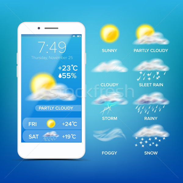 Weather Forecast App Vector. Realistic Smartphone Screen. Weather App With Icons. Design Element Ill Stock photo © pikepicture