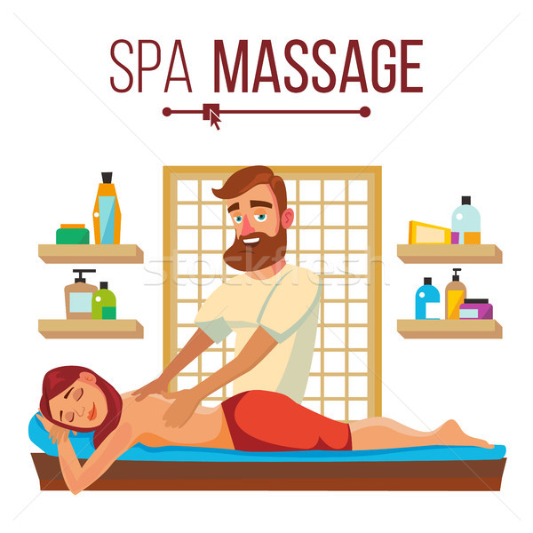 Spa Massage Vector. Relaxation Wellness Salon. Isolated Flat Cartoon Character Illustration Stock photo © pikepicture