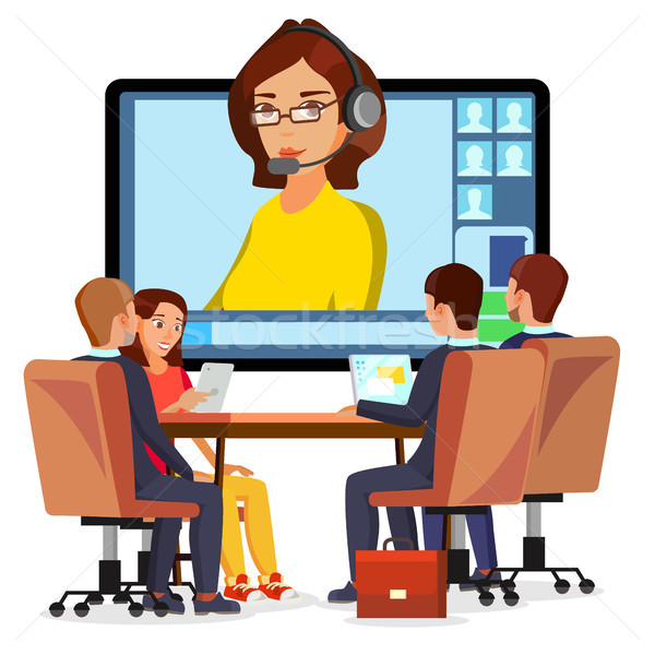 Video Meeting Online Vector. Woman And Chat. Ceo And Employees. Business Meeting, Consultation, Conf Stock photo © pikepicture