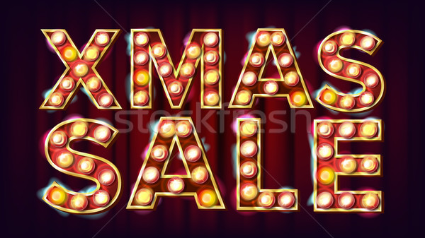 Christmas Party Sign Vector. Vintage Golden Illuminated Neon Light. Flyer, Banner, Brochure Template Stock photo © pikepicture