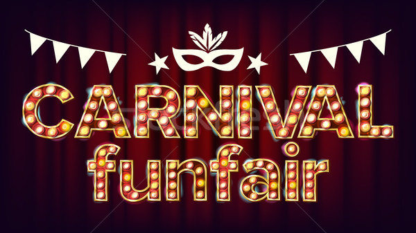 Carnival Funfair Background Vector. Carnival Shining Light Sign. For Masquerade Invitation Card Desi Stock photo © pikepicture