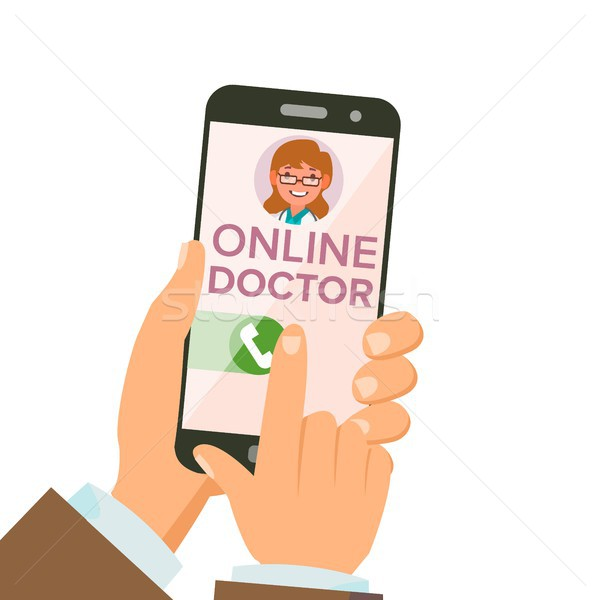 Online Doctor App Vector. Hands Holding Smartphone. Online Consultation. Woman On Screen. Healthcare Stock photo © pikepicture